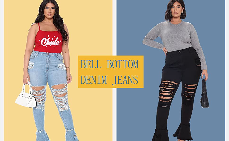 Women's Plus Size Flare Jeans Knee Ripped Elastic Waist Fitted Denim Jeans