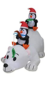 6 Foot Long Christmas Inflatable Penguins Fishing on Polar Bear