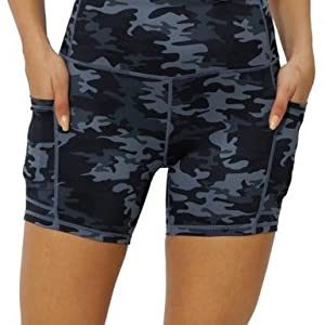 The front of yoga shorts