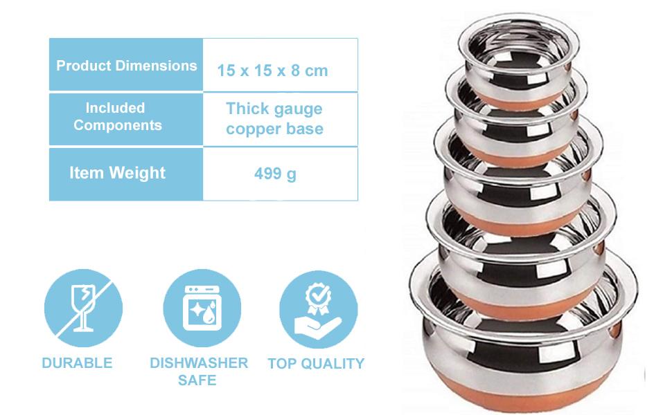 Stainless Steel Copper Bottom Prabhu Chetty,Handi,Pot with Lid,Stainless Steel Copper handi