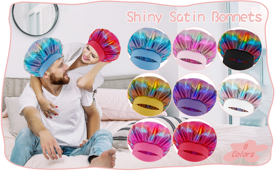 8 pieces shiny satin bonnets in 8 different colors