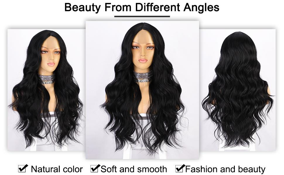 long wavy synthetic wig with middle part