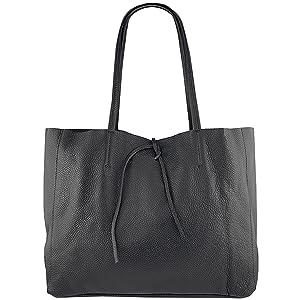 Echtleder Damen Handtasche Innentasche Blau XXL Groß Shopper quadratisch länglich viereckig