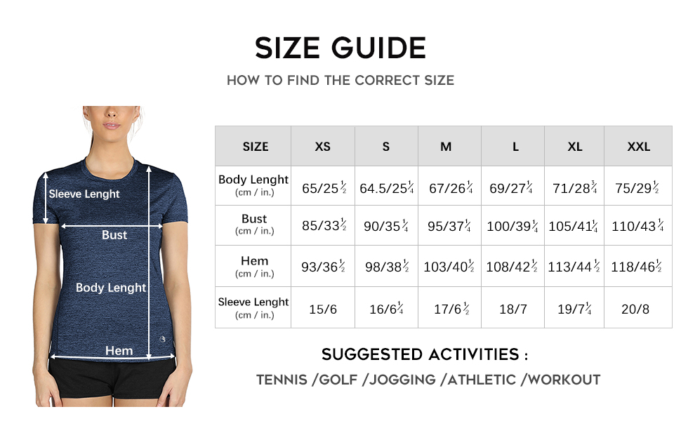 Sports Tshirt size guide
