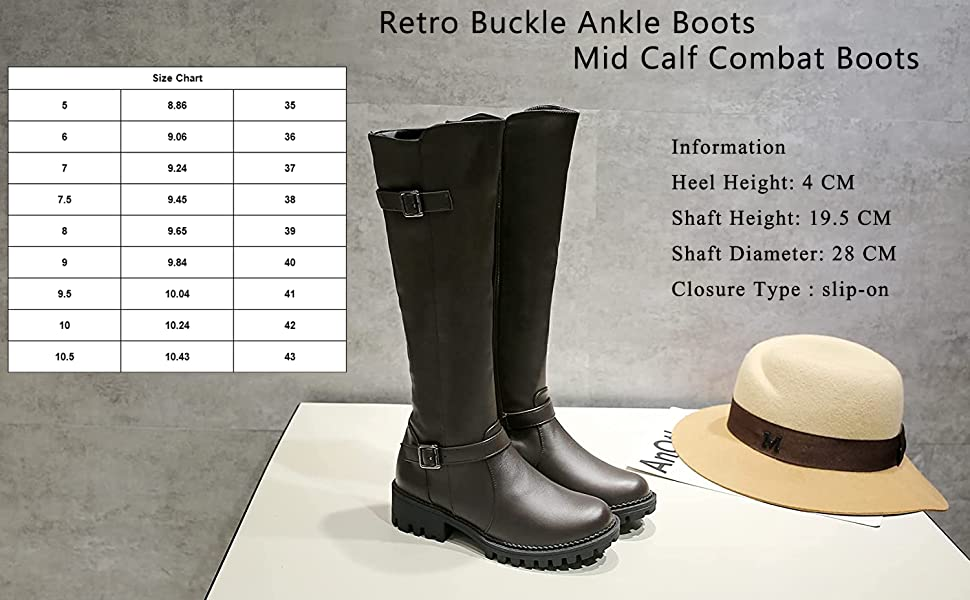 Retro Buckle Ankle Boots Mid Calf Combat Boots