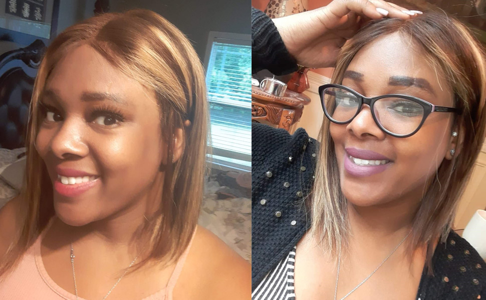 highlight lace front bob wig