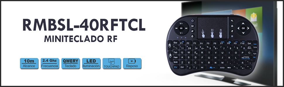 Mando BSL con Teclado y Ratón Inteligente   Inalámbrico RF 2.4GH  Universal Compatible con Smart TV-PC-Caja Android y Consola De Videojuegos   con ...
