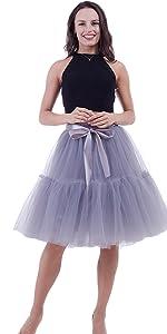 tutu skirts with sash 7 layers gray