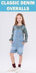 girls classic denim overalls