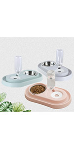 Stainless Steel Dog Bowl Cat Food Bowls and Water Feeder with Automatic Water Bottle