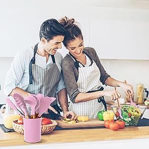 pink kitchen utensils set