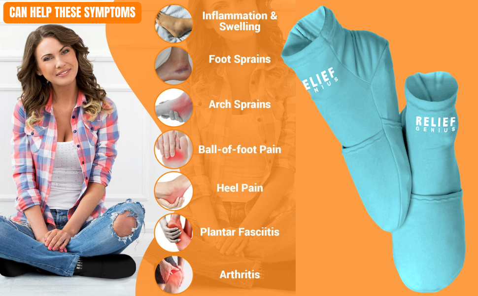 Cold therapy socks image with description of helping symptoms