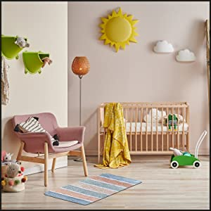 Soft feel of rug is perfect for babies to play on or even for your pets. Perfect in nurseries