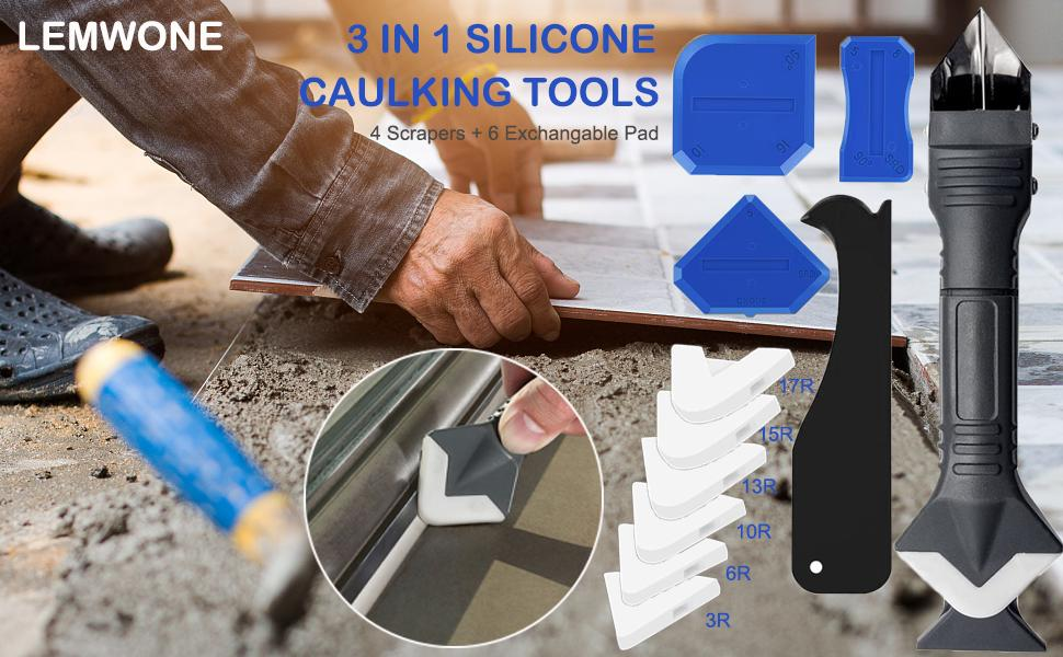 3 in 1 Silicone Caulking Tools Scraper Great Tools for Kitchen Bathroom Window