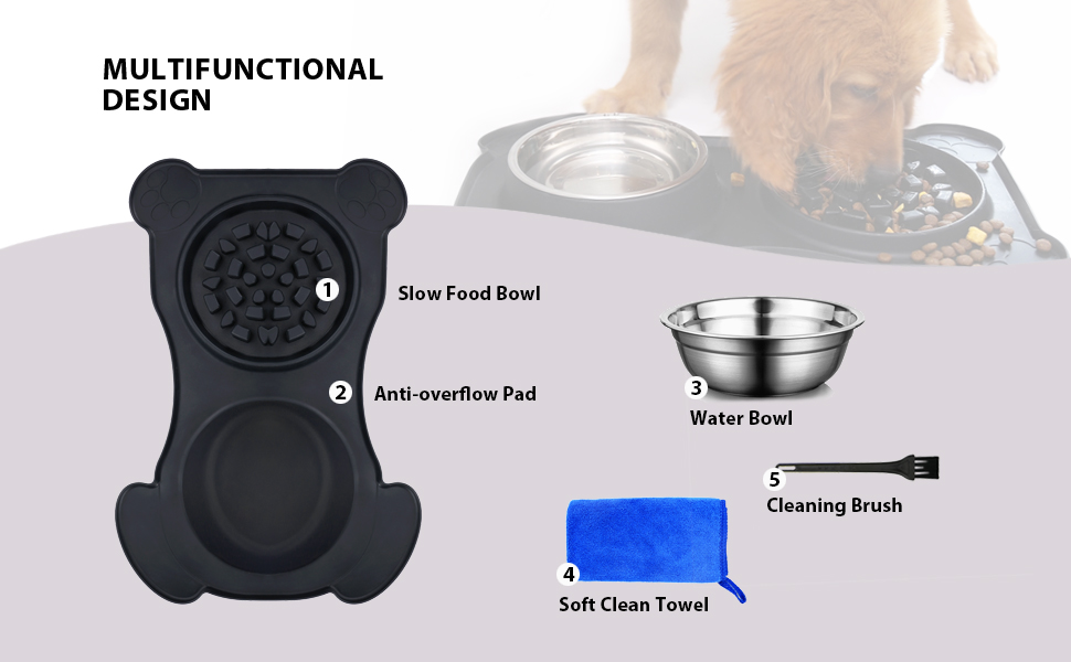 Water Bowl Slow Food Bowl Anti-overflow Pad Soft Clean Towel Cleaning Brush