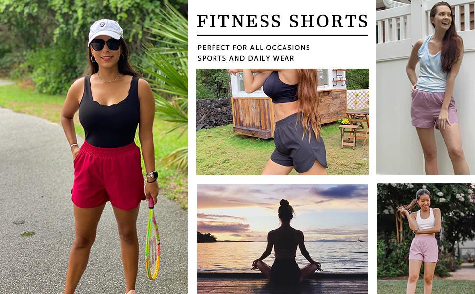 Aloodor Workout Shorts Women