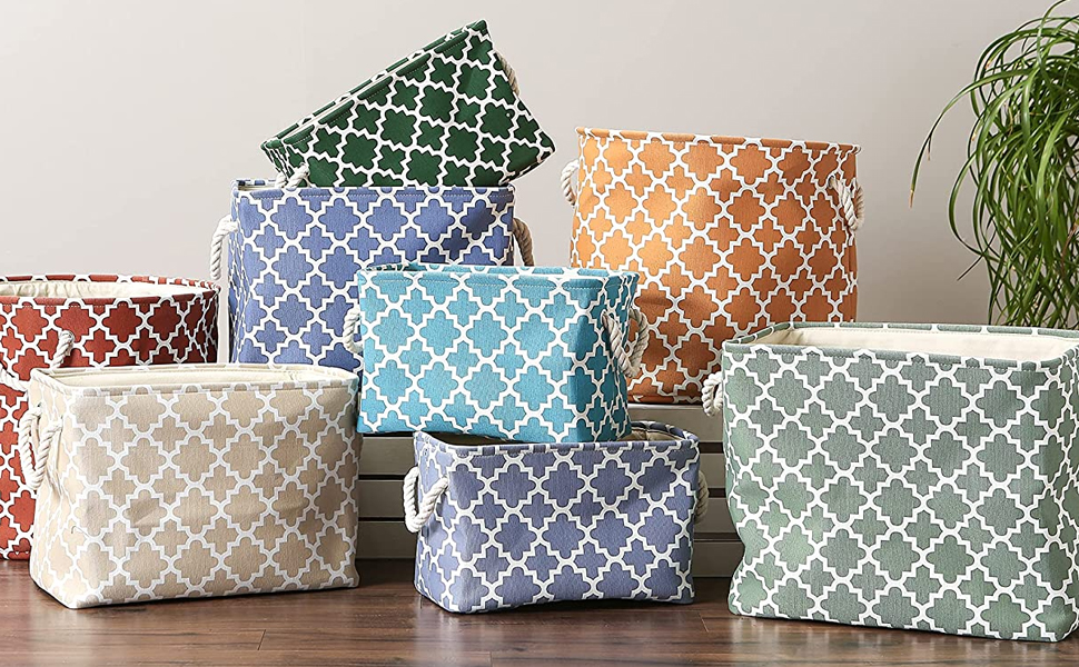 Polyester Bin Collection with Assorted Patterns and Colors
