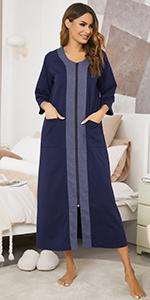 women zip front nightgown robe