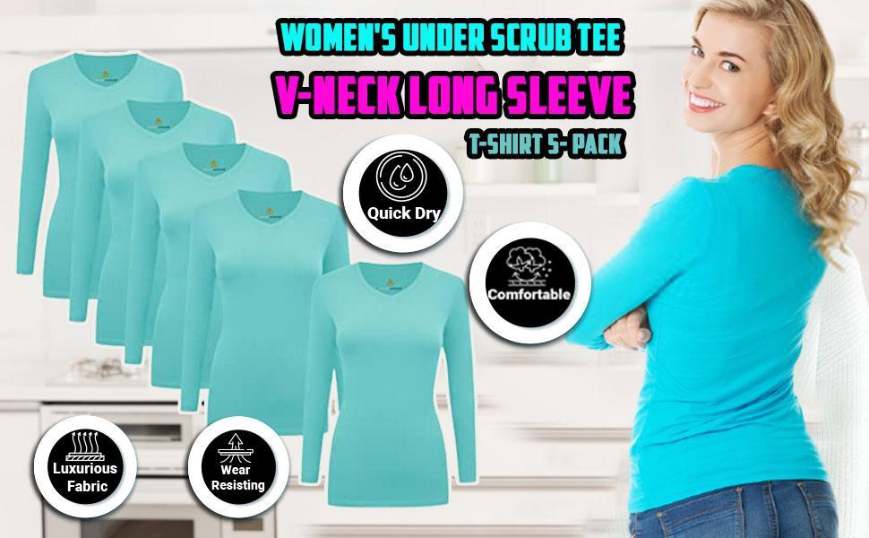 Mamp;M SCRUBS Women's Under Scrubs Long Sleeve T-Shirt Comfort V-Neck Medical Underscrub Tee