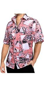 Pink Geometric Short Sleeve for Men Dress Shirt Hawaiian Beach