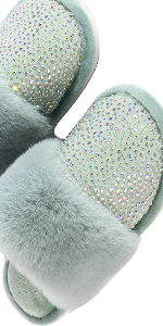 Womens Rhinestone Fuzzy Slippers indoor outdoor Comfy House Shoes Anti-slip Sole Fluffy Slippers