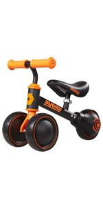 Baby Balance Bike Black Orange