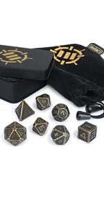 ENHANCE Tabletop RPG Metal Dice Set with Case and Dice Bag