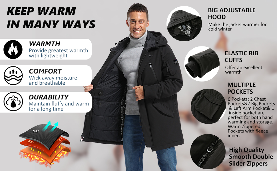 Men's Classic Hooded Puffer Parka Jacket