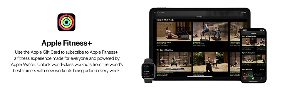 New Apple Gift Card, Apple Fitness+, powered by Apple Watch, world-class workouts, best trainers
