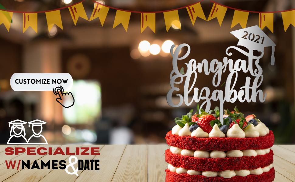 graduation grad custom personalized cake topper 2021