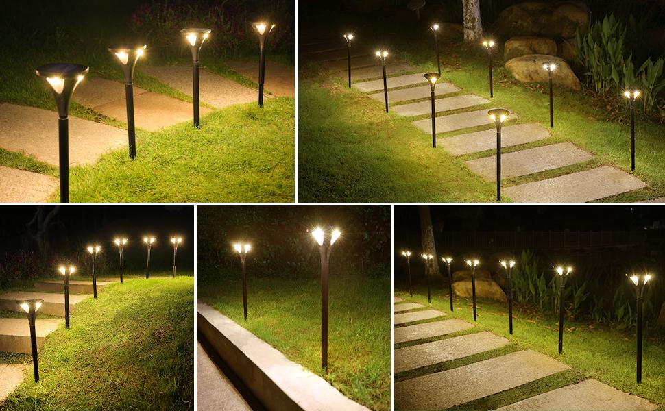 Solar pathway lights garden