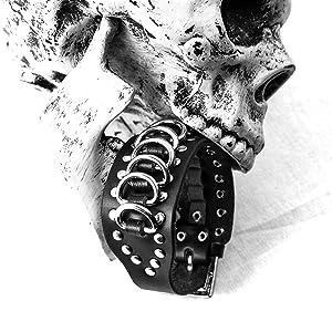 Eigso Black Singular Genuine leather stainless steel goth bracelet for men and women
