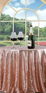 rose gold round 108 inch sequin tablecloth