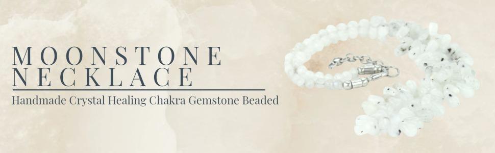 Mystic Self White Moonstone Necklace Handmade Gemstone Beaded Crystal Healing Chakra Charm Jewelry