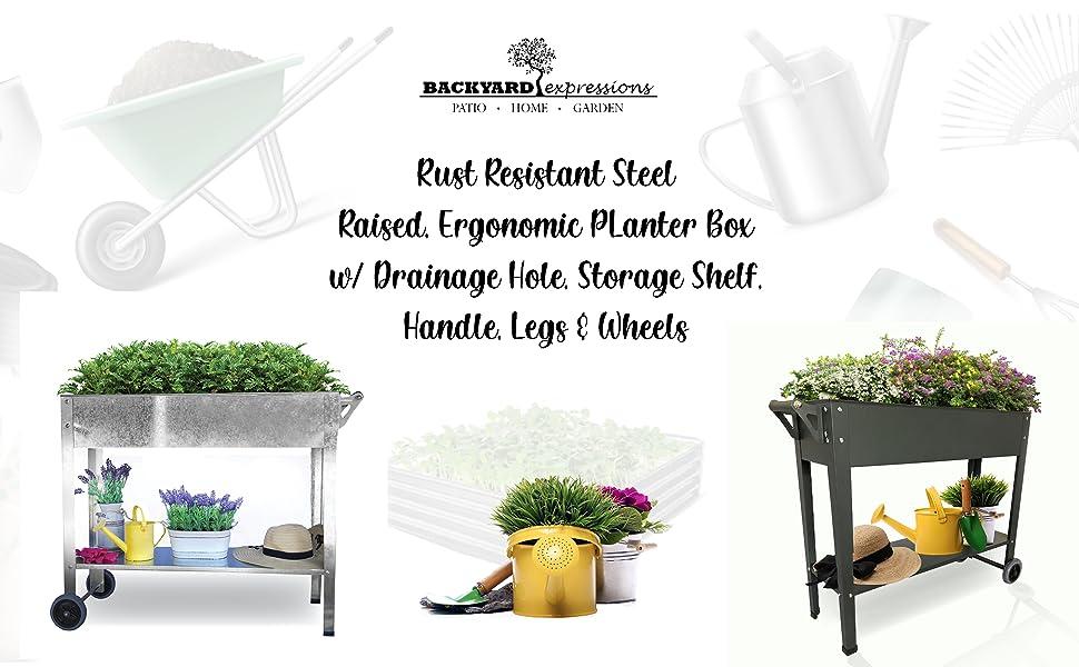 raised elevated flower bed garden gardening galvanized backyard expressions steel wheels legs