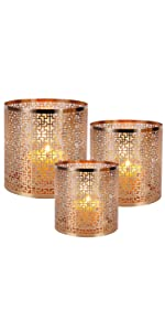 Champagne Gold Window sash Pattern Candle Holder