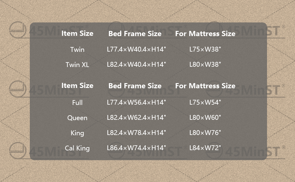 14 inch bed frame SIZE TWIN XL FULL QUEEN KING CAL CALIFORNIA