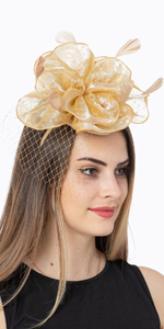 Gold Fasciantor tea party Hats for women with rhinestones