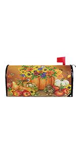Autumn Pumpkin Sunflower Magnetic Mailbox Cover MailWraps
