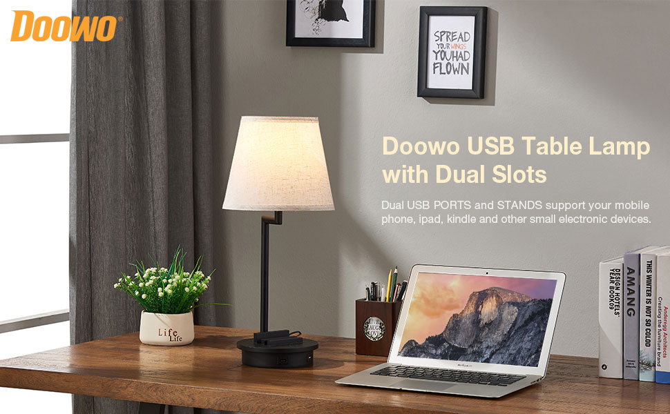 Doowo USB Table Lamp with Dual SLots