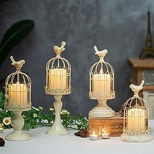 cream ivory rustic candle holders metallic