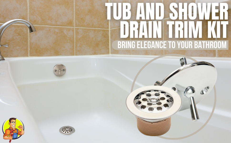 Tub and Shower Drain Trim Kit Bathtub Strainer Waste Overflow Face Plate Cover Trip Lever stainless
