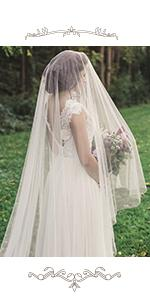 1 Tier Bridal Wedding Veil 118 Width Cathedral Length with Comb and Cute Edge