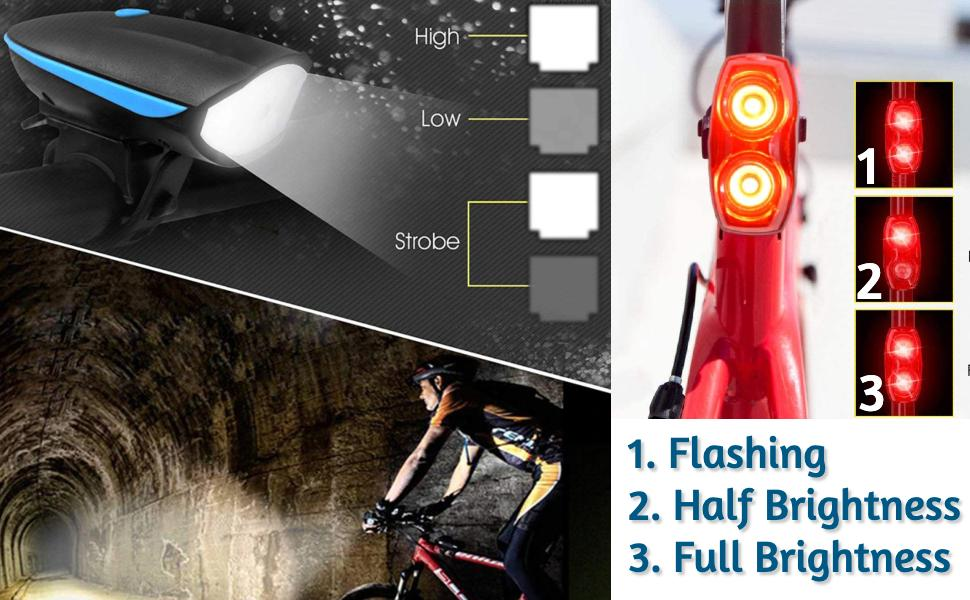 bicycle tail light with indicator rechargeable