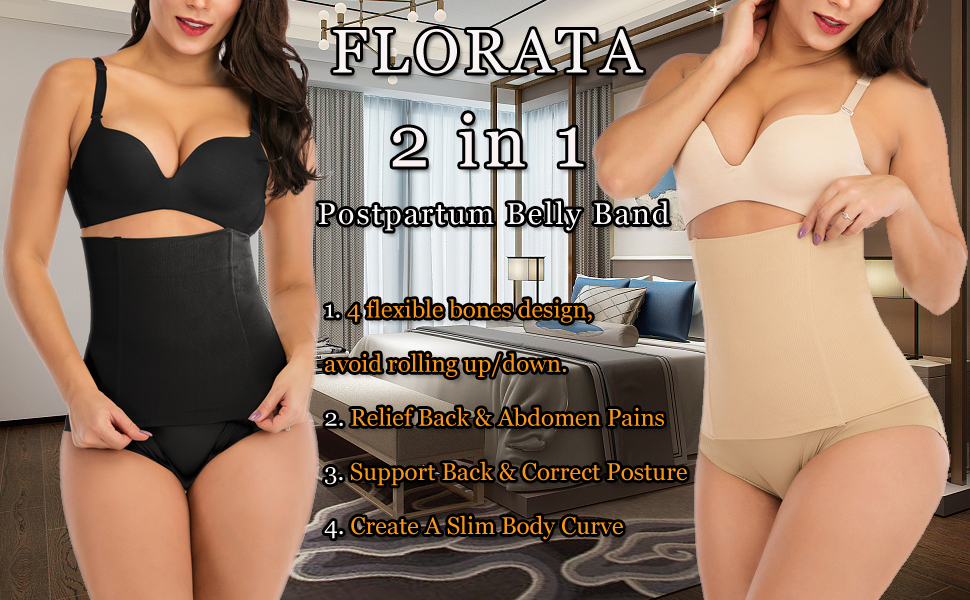 2 in 1 Postpartum Recovery Belt,Body Wraps Works for Tighten Loose Skin