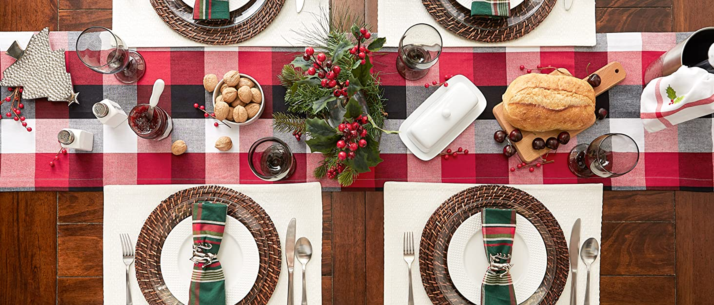 red and black buffalo check Christmas themed tablescape