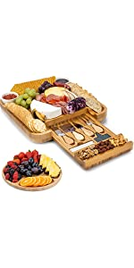 Cheese Board and Knife Set - 13 x 13 x 2 Inch