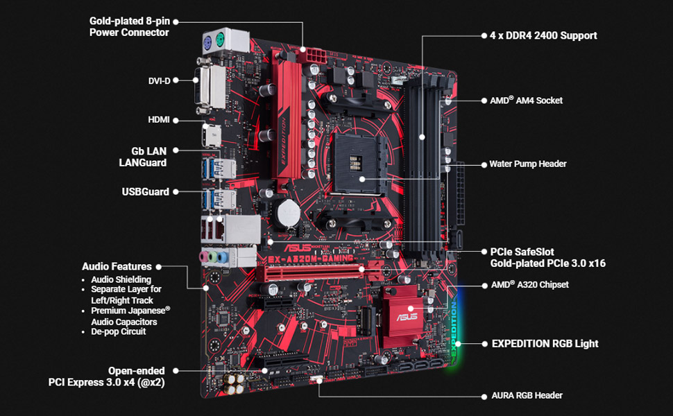 ASUS EX-A320M Micro-ATX Gaming Motherboard - Banner 02
