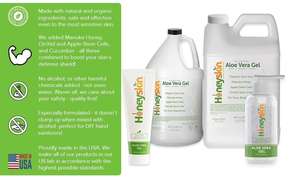 natural organic Manuka Honey Orchid Apple Stem Cells Cucumber No alcohol USA made