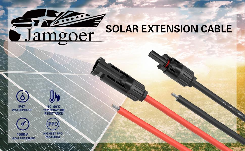 10 awg solar panel extension cable connectors waterproof material RV boat roof 30 copper cable feets